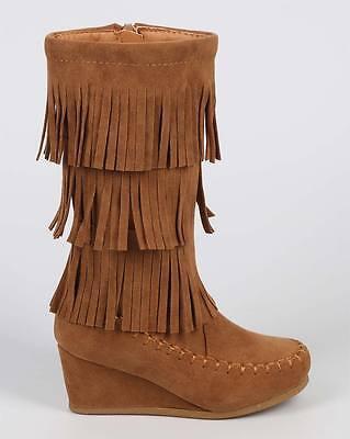 New Girls Black Mid Calf Three-Layer Fringe Wedge Heel Boots Youth Sizes 9-4 US