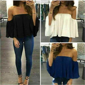 Hot-Women-Off-Shoulder-Short-Sleeve-Tee-Shirt-Casual-Blouse-Tops-Loose-T-shirt