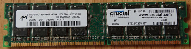 Crucial CT3264Z335 (256 MB, PC2700 (DDR-333), DDR RAM, 333 MHz, DIMM 184-pin)...