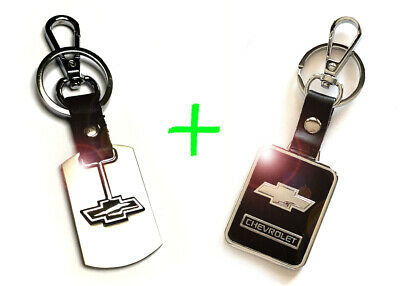 2 x CHEVROLET CHEVY Stainless Steel Key Chain and Leather Black Keychain