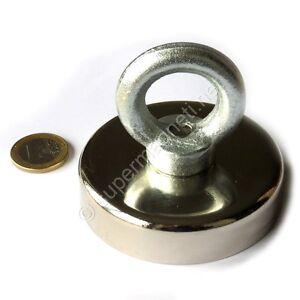 Super-Magnete-al-Neodimio-OTN-75-POTENZA-180-Kg-CON-OCCHIELLO-E-PERNO-IN-ACCIAIO