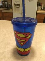 Superman Cup With Straw