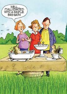 Image Is Loading Funny Humour Birthday Greeting Card Gardening Bird Bath