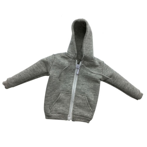 1//6 Scale Gray Zipped Hoodie Sweater Clothes Accessory For 12/'/' Male Figure