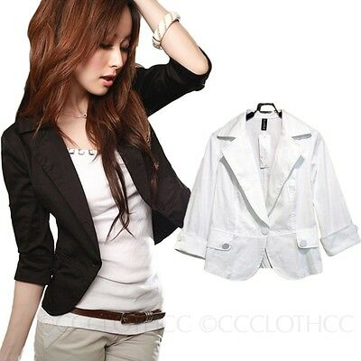 Office Jacket Boyfriend Blazer Ladies Cardigan Womens short sleeve Sz 6 4 2 0 8