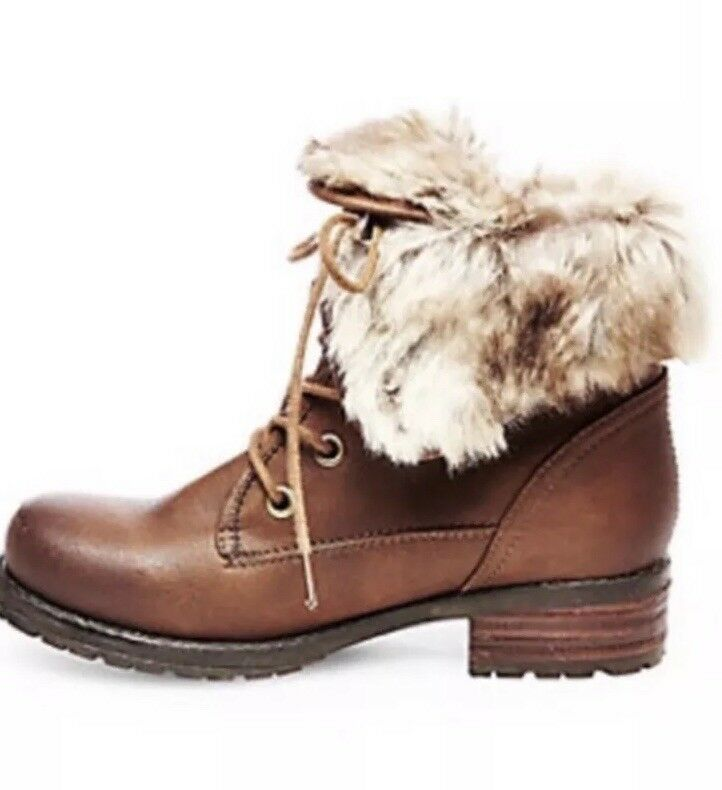 Steve Madden Mocha leather Faux Fur botas BNIB Talla 8 or 9 MSRP  159