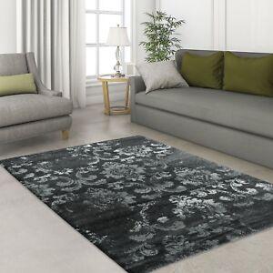 Das Bild Wird Geladen Teppich Design Modern  Hochwertig Wohnzimmer Antique Ornament Schwarz