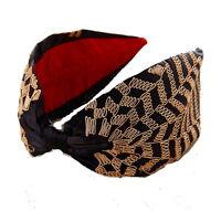 Anthropologie Amadora Turban Headband Navy & Gold Metallic Mom Girlfriend Gift