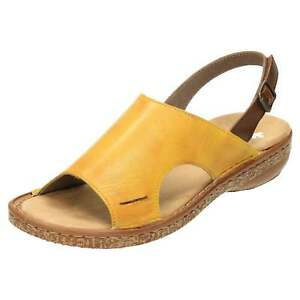 Details zu Rieker Leather Slingback Flat Sandals 628C5 68 Open Toe Low Wedge Lightweight