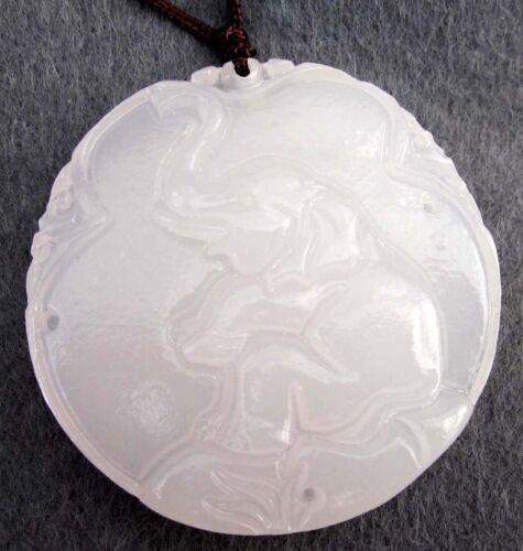 White Jade Gemstone Happy Lucky Elephant Pendant