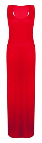 New Womens Ladies Maxi Dress Plain Summer Toga Racer Back Sleeveless Plus Size