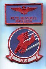 PETE MAVERICK MITCHELL TOP GUN MOVIE COSTUME US NAVY NAME TAG Squadron Patch Set
