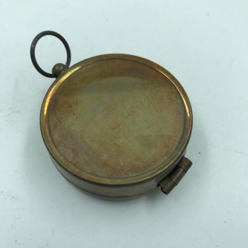 Nautical Brass Finish Compass With Lid Vintage Antique Mini Pocket Style Pendant