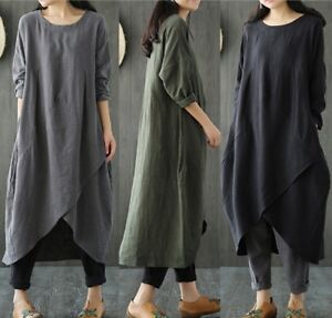 ZANZEA-8-24-Women-Long-Sleeve-Maxi-Kaftan-Sundress-Loose-Plus-Size-Cotton-Dress