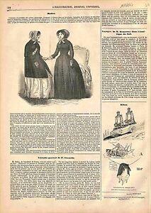 Modes Femmes Soie Blanche Robe de Bal Jupes Chapeau Corsage Velours GRAVURE 1847 - France - FASHION WOMEN'S SILK WHITE BALL GOWN SKIRTS HAT CORSAGE VELVET CaricatureFrance ANTIQUE PRINTGRAVURE 100 % DÉPOQUE 1847 PORT GRATUIT EUROPE A PARTIR DE 4 OBJETS BUY 4 ITEMS AND EUROPE SHIPPING IS FREE Il s'agit d'un fragment de page originale av - France