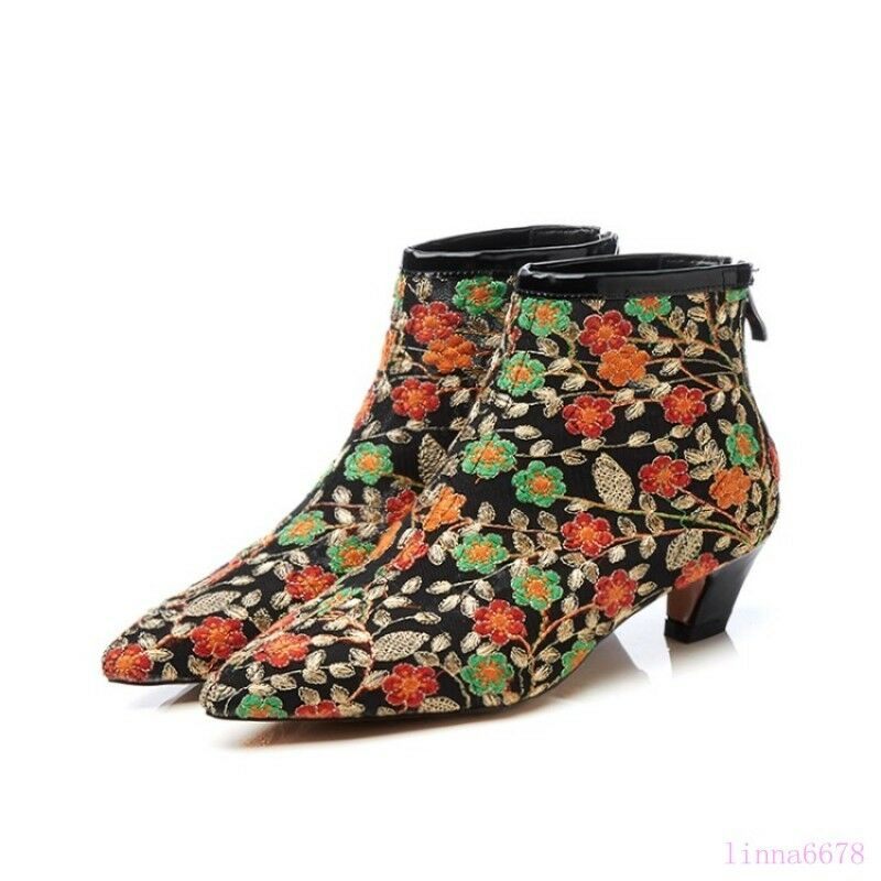 A A A Donna Special Block heel Pointy toe Embroidery Mesh Fashion Floral Nice Shoes 3c289b