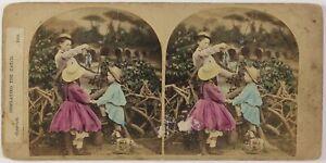 Scena Da Genere Piccoli Pesca Foto Stereo Vintage Albumina 1865