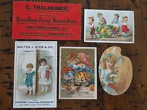 """#ORIGINAL 1800's VICTORIAN Trade Cards Lot 5 Mixed Grocers Ads 5.5 x 3"""""""