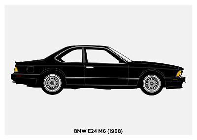 BMW E24 635CSi Black - A4 A3 A2 sizes Art Print Car RENDER POSTER