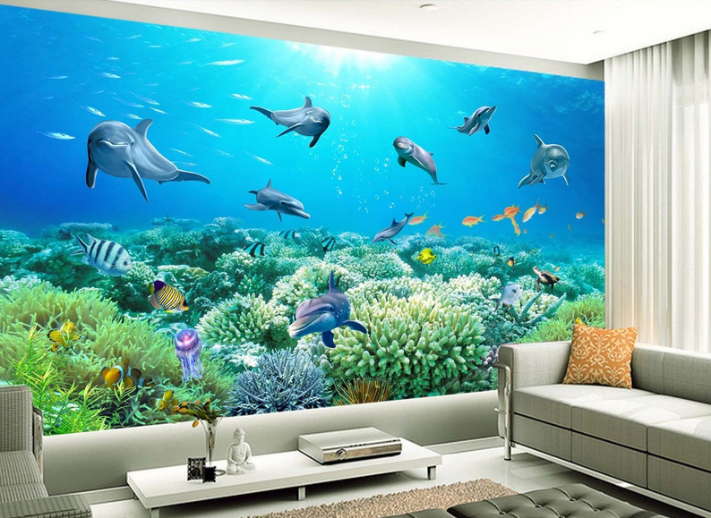 3D Meereskorallen-Delphin 85 Tapete Wandgemälde Tapete Tapete Tapete Tapeten Bild Familie DE | Qualitätsprodukte  | Perfekte Verarbeitung  |  2a3410