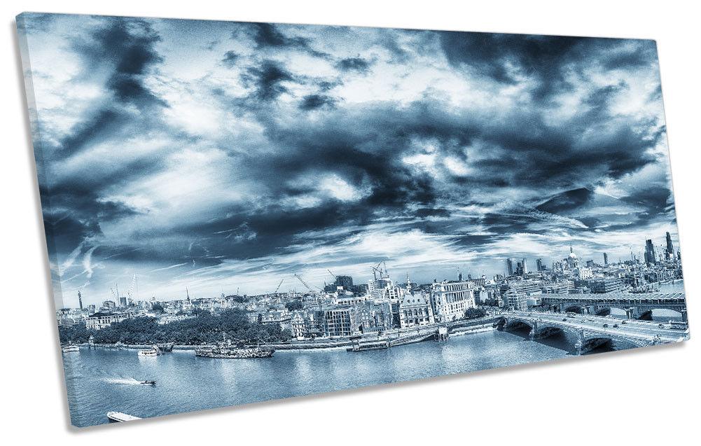 London Sunset Blau City Picture PANORAMIC CANVAS WALL ART ART ART Print 7bbe1d