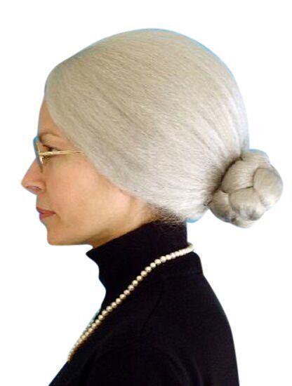 Granny Wig Old Lady Grandma Nana Nanna Grey Bun Fancy Dress Deluxe Costume