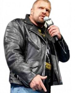best authentic preview of top brands Details about WWE Triple H Black Leather Jacket