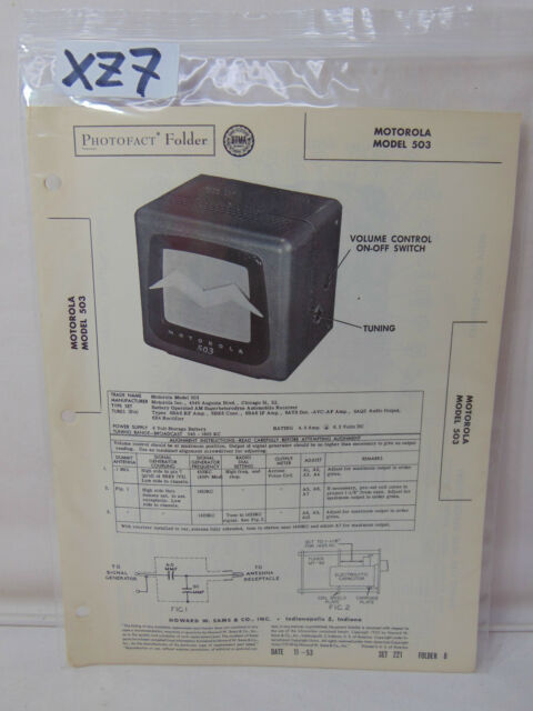 Sams Photofact Folder Manual  U0026 Schematic Radio Motorola