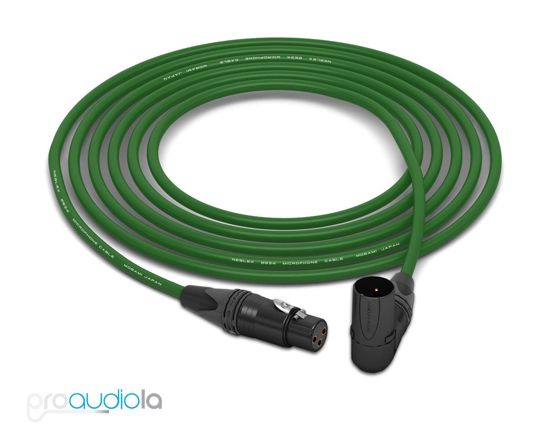Cable de cuatro Mogami 2534   Neutrik Neutrik Neutrik XLR-F a 90 oro o Xlr-m   verde 35 pies 35' c72e6c