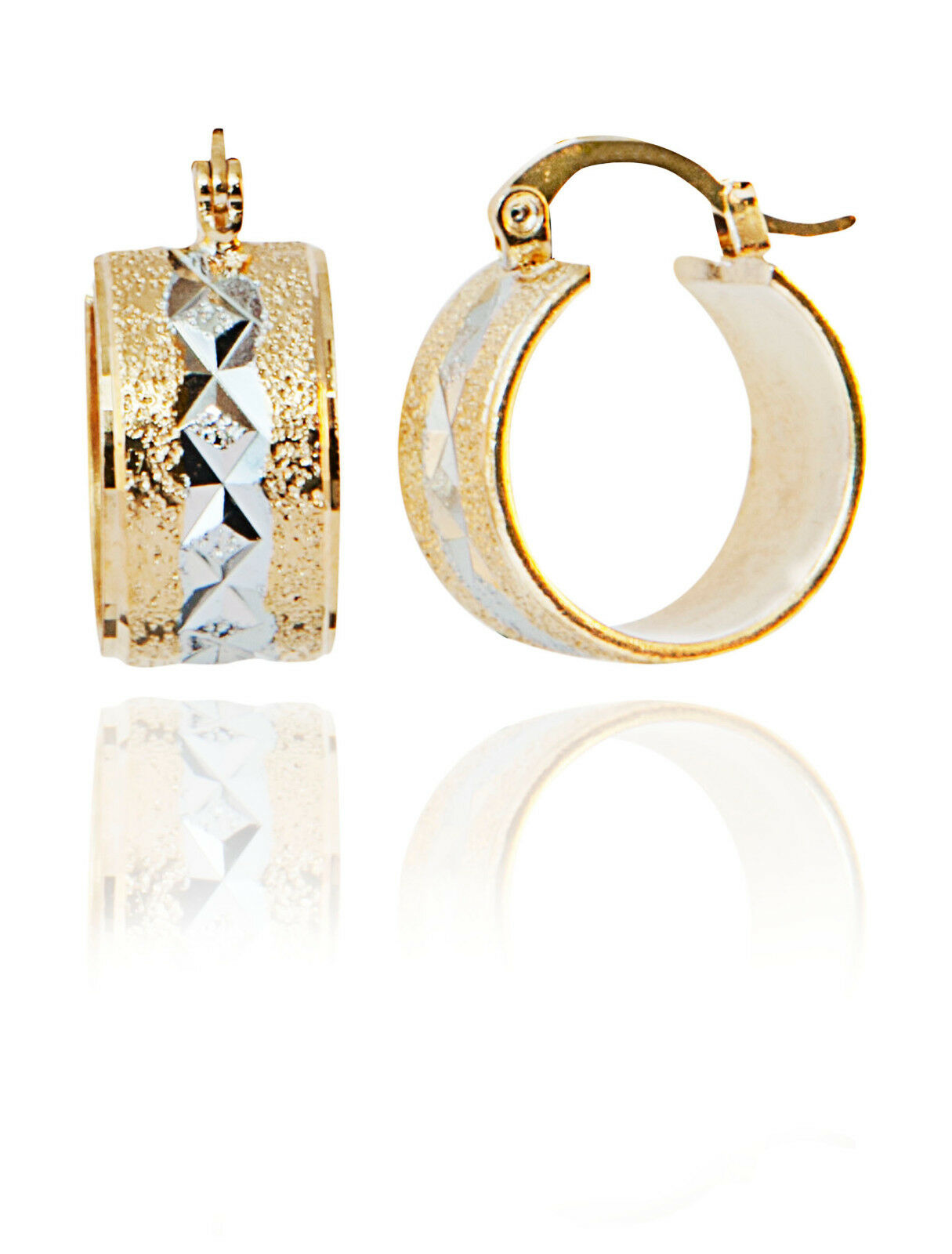Hoop Huggie Sttyle Earrings with Two Tone Yellow Gold & engraved Rhodium Plating