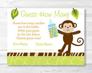 Wildlife Jungle Animals Baby Shower Guess How Many Game Cards Ebay