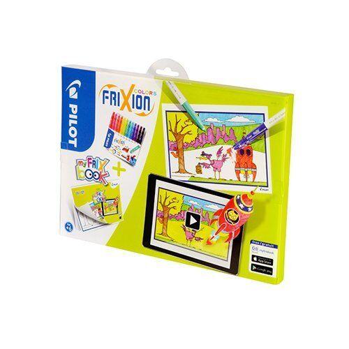 Pilot myFRIXbook Frixion Colors radierbare Fasermaler 12er Set mit Malbuch /& App