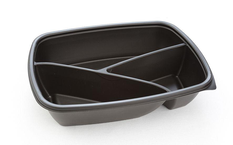 300 SABERT Fastpac 3 Compartiment rectangulaire noir au micro-ondes jetables