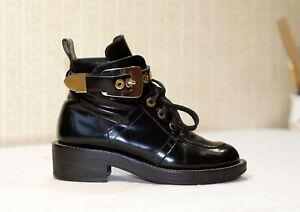 1500$ BALENCIAGA Ceinture black leather lace up NO cut out combat boots 36.5 us6