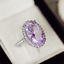 5Ct-Oval-Cut-Amethyst-Diamond-Cocktail-Halo-Engagement-Ring-14K-White-Gold-Over thumbnail 5