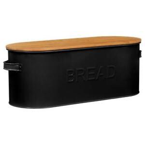 Grey-black-Enamel-Bread-Bin-Bread-Crock-With-Bamboo-Lid-loaf-bin-42x18x16cm-new