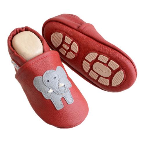 Liya/'s Krabbelschuhe Hausschuhe Lederpuschen Babyschuhe #647 Elefant in dunkel