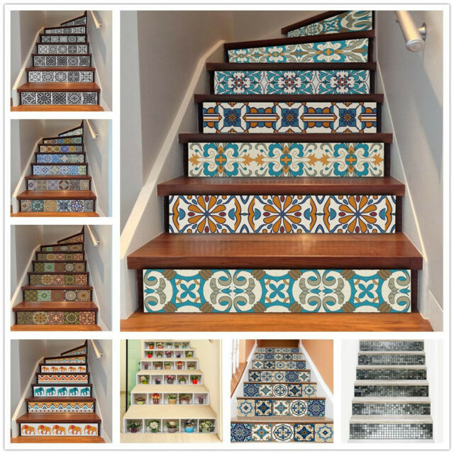 6Pcs 3D Vinyl Self Adhesive Staircase Stair Riser Floor Sticker DIY Wall  Decals