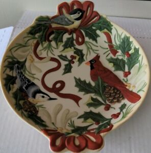 """Lenox Winter Greetings by Catherine McClung Cardinal Birds Nut & Candy Dish 10"""""""