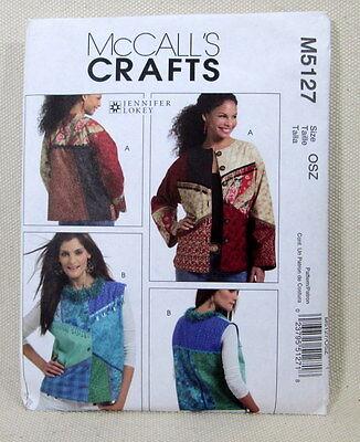 M5127 McCalls Craft  - Jacket by Designer Jennifer Lokey - One Size - Sewing