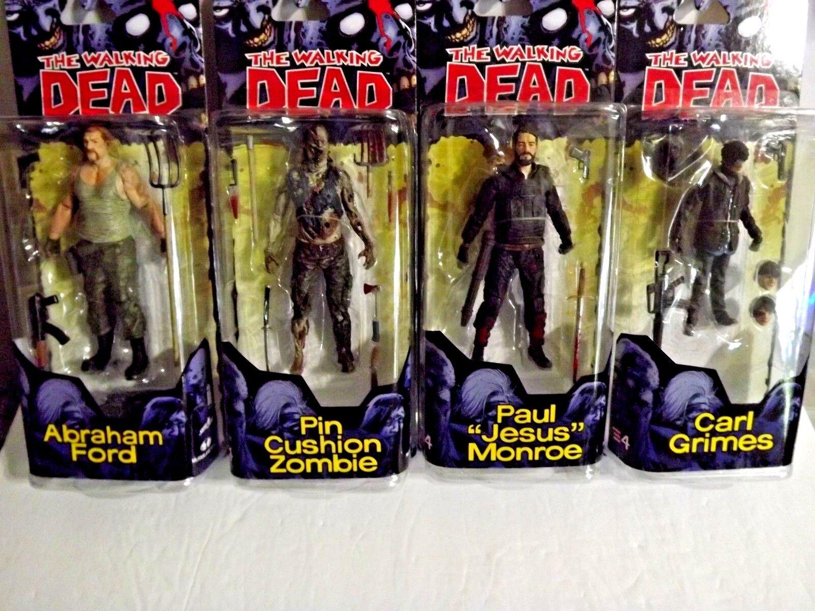 Mcfarlane Toys The Walking Dead Comic Series 4 Set Carl,Abraha,Jesus,Zombie NEW