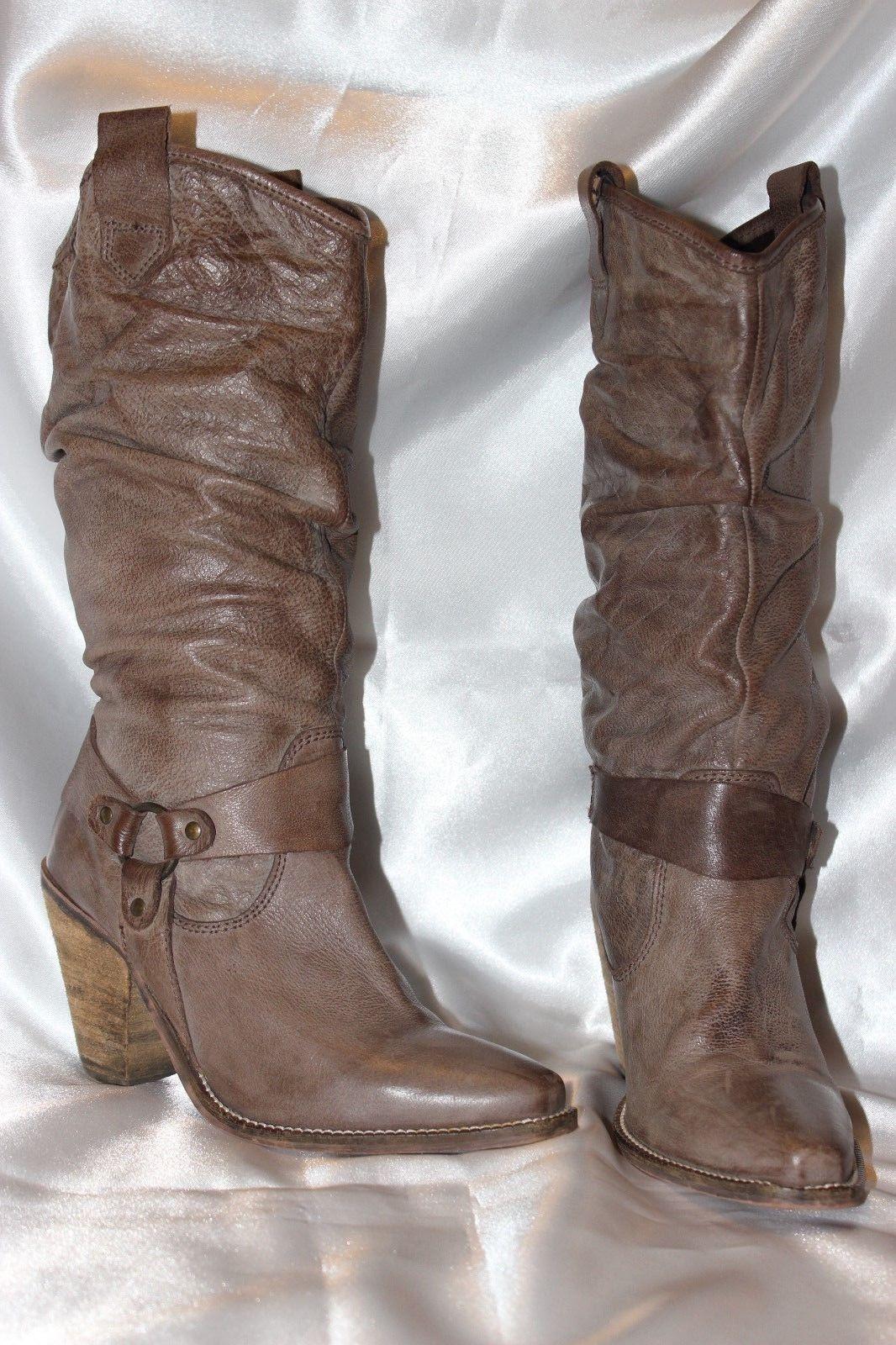 BARRATTS Soft Genuine Light  Braun Leder Pull on Stiefel Heels Schuhes Größe 5