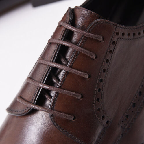 NIB $695 CANALI 1934 Brown Leather Brogued Wingtip Derby US 6 D Dress Shoes