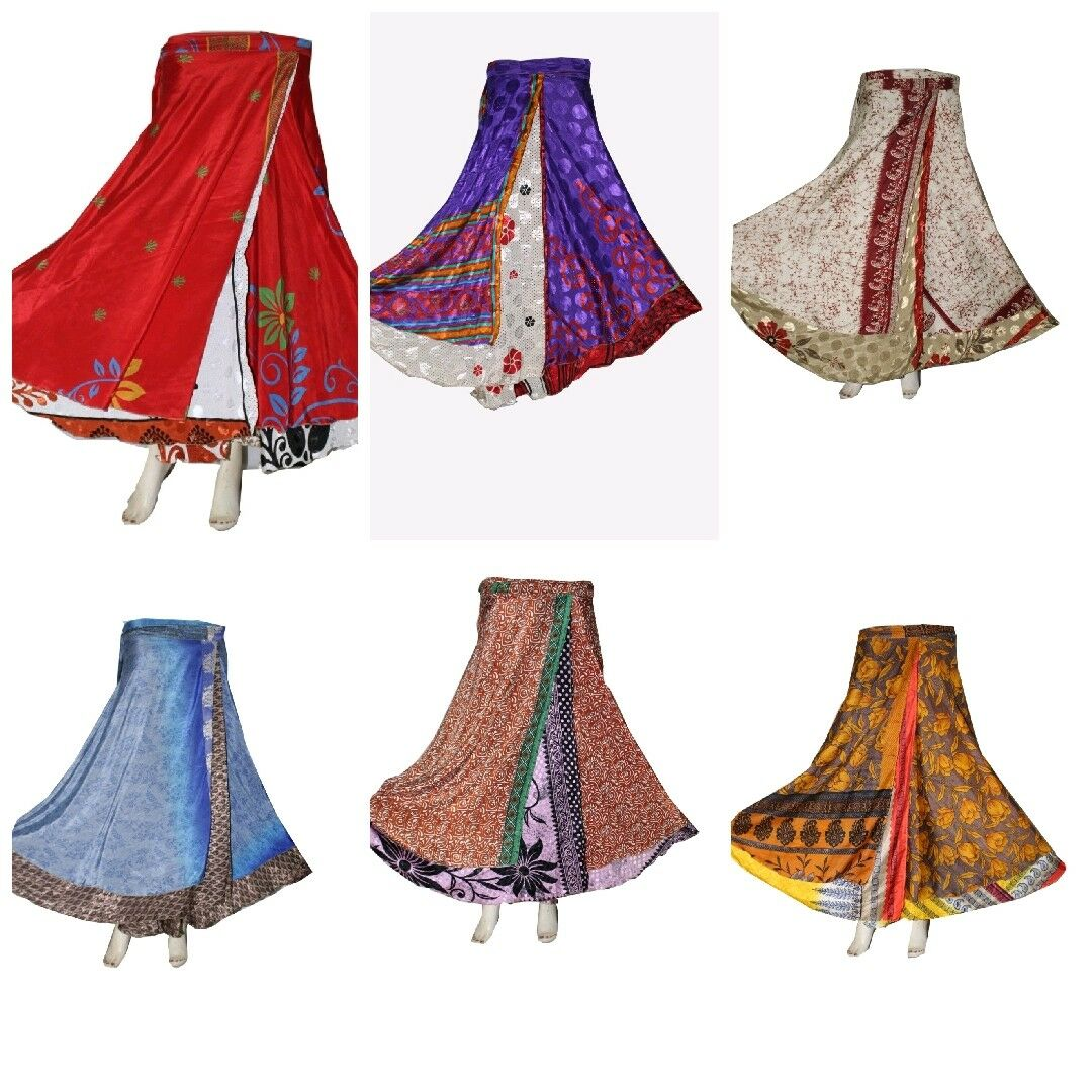 10 Pcs Vintage Reversible Two Layer Indian Wrap Around Skirt Wholesale Lot