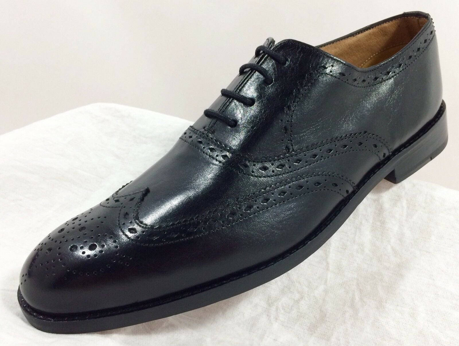 Nuevo Ben Sherman Hombre Negro ala Cuero punta del ala Negro completa Brogue Oxford de vestir Zapatos e5302f