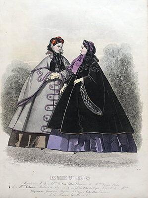 LES MODES PARISIENNE, PARIS FASHION plate 920 antique hand coloured print 1859