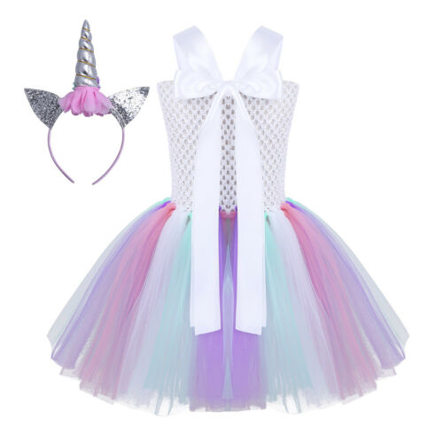 Girls Kids Cartoon Halter Neck Flower Tutu Dress Party Fancy Outfit Costumes