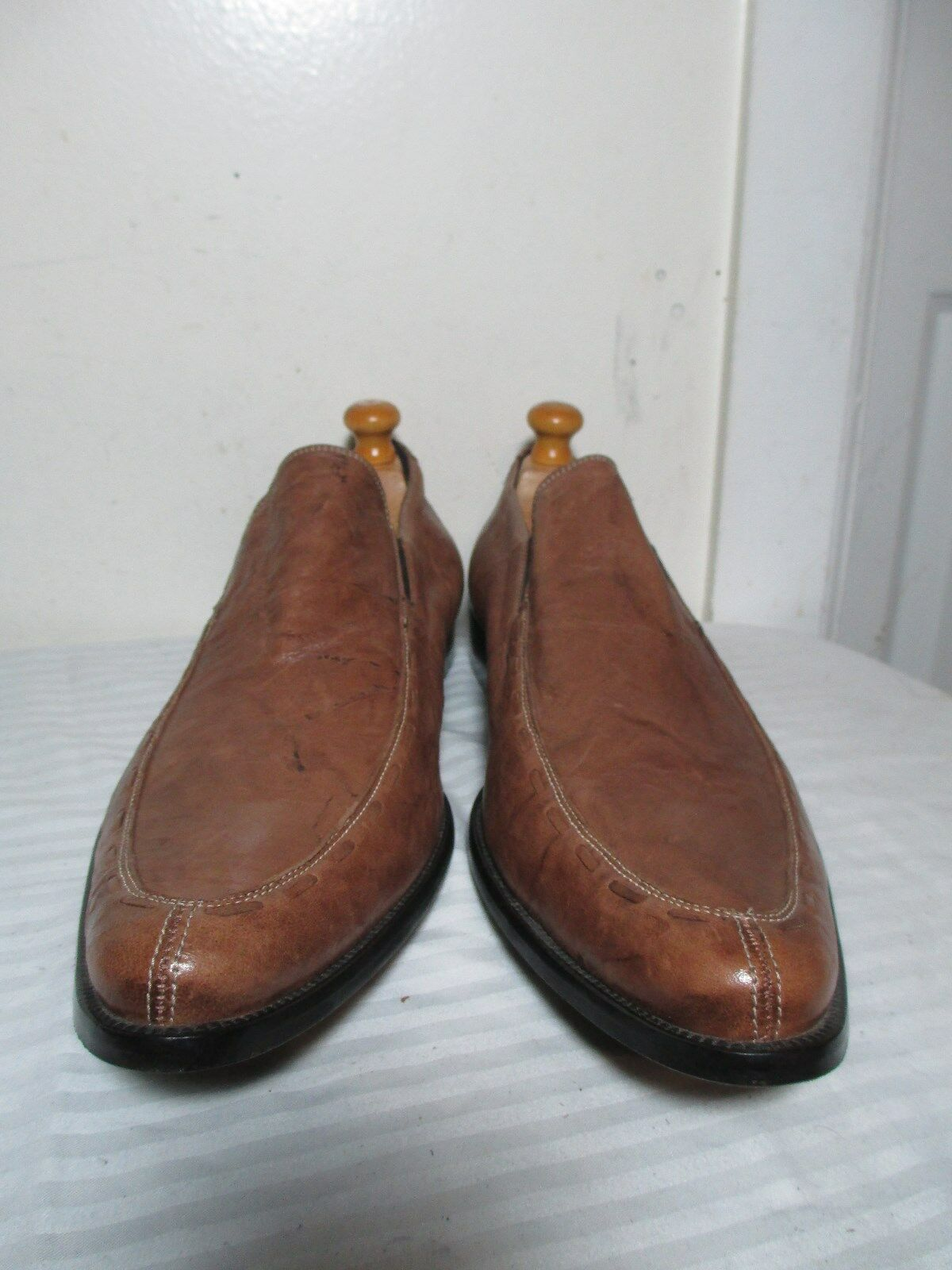 308 DONALD J PLINER JADOR Uomo'S BROWN LEATHER LEATHER LEATHER SLIP ON LOAFERS 15M MADE IN ITALY 6879e9