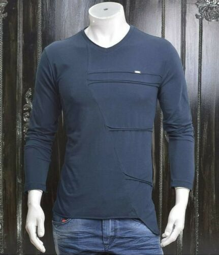 MONDO Men/'s Italian fashion NAVY ASYMETRIC LONG SLEEVE t-shirt design pattern