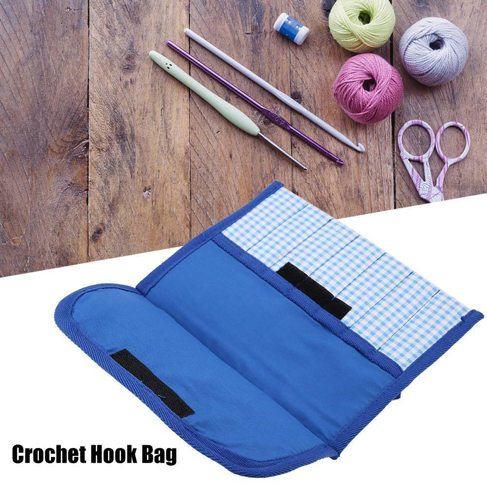 Blue Soft Knitting Needle Crochet Hook Organizer Bag Pouch Holder